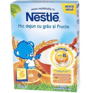 Nestle cereale mic dejun cu grau si fructe, de la 6 luni, 250 g