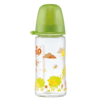 Biberon sticla cu gat larg, 240 ml, tetina silicon pt lapte, nr 1, nip 35063