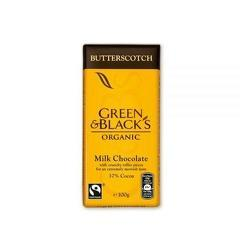 "CIOCOLATA ""GREEN&BLACK'S"" CU LAPTE SI BUTTERSCOTCH ECO 100g UNICORN NATURALS"