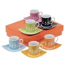 Set espresso LA DOLCE VITA include 6 ceşti cu farfurioare ambalate în cutie de cadou