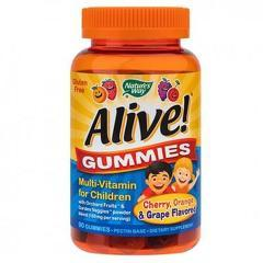 Alive!® Gummies Multi-Vitamin for Children 90 jeleuri (gust de portocale, cirese si struguri)