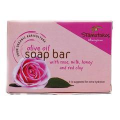 Sapun din ulei de masline cu trandafiri, lapte, miere si argila rosie bio 80g